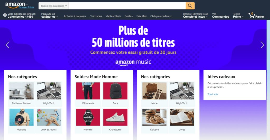 marketplace amazon page accueil