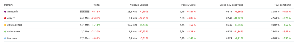 analyse top 5 trafic site internet ecommerce