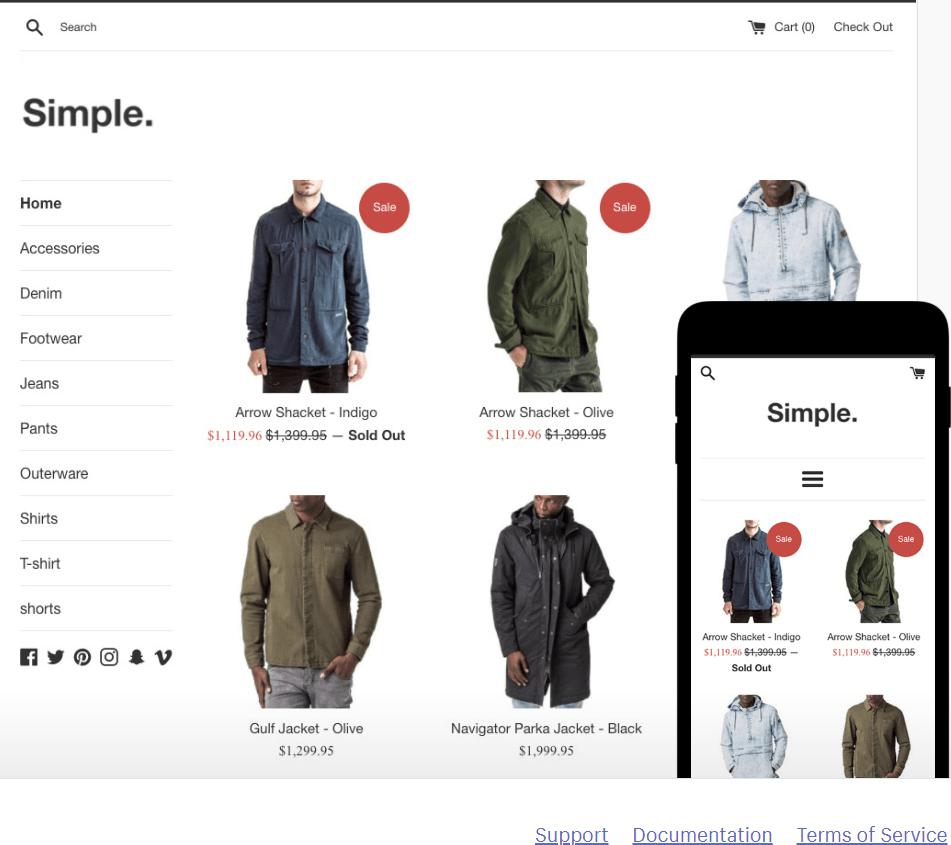 thème gratuit shopify simple