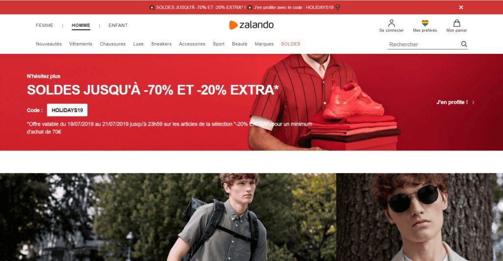 marketplace zalando page accueil